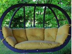 Fotel hamakowy drewniany podwójny, Swing Chair Double antracyt - musztardowy(7)
