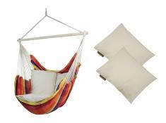 Fotel hamakowy z poduszkami HP, Bench De Luxe + HP - 209 - żólto-czerwony(150)