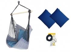 Fotel hamakowy z poduszkami i zestawem montażowym, Etno + HP-113 + koala/fix/ch1 - Granatowy(112)