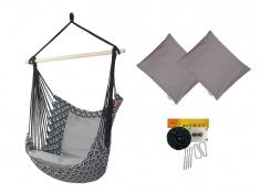 Fotel hamakowy z poduszkami i zestawem montażowym, Etno + HP-111 + koala/fix/ch2 - szary(111)