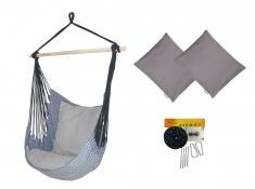 Fotel hamakowy z poduszkami i zestawem montażowym, Etno + HP-111 + koala/fix/ch2 - Granatowy(112)
