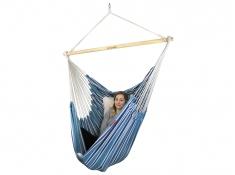Fotel hamakowy z poduszkami i zestawem montażowym, Bench De Luxe + 2 x HP-209 + F3 - niebiesko-biały(148)