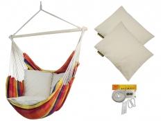 Fotel hamakowy z poduszkami i zestawem montażowym, Bench De Luxe + 2 x HP-209 + F3 - żólto-czerwony(150)