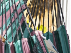 Fotel hamakowy Brazilian, B5 - różowo-zielony(35)