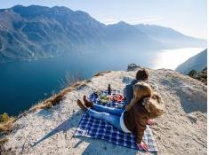 Koc piknikowy, Travel Blanket Ultra Light - niebiesko-biały(Niebieski)
