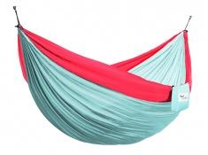 Hamak turystyczny dwuosobowy Parachute, PAR2 - turkusowo-czerwony(55)