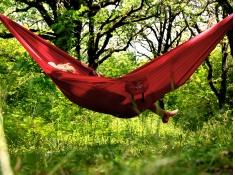 Hamak turystyczny, Silk traveller XL - Czerwony(Chili)