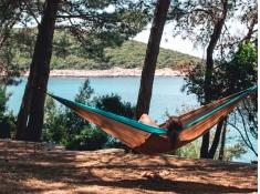 Hamak turystyczny, Silk traveller XL - Brązowy(Mountain)