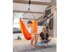 Turystyczny fotel hamakowy z zestawem montażowym, ZZV14 - pomarańczowy(22)
