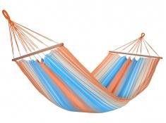Jednoosobowy hamak z drążkiem, KOLOR - pomarańczowo-niebieski(17405)