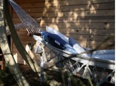 Hamak z drążkiem boho, HSM-W - kremowo-niebieski(328CP)