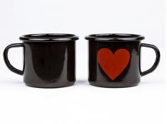 Kubek emaliowany, Love - czarny(czarny)