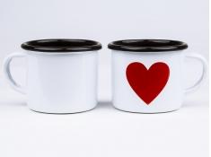 Kubek emaliowany, Love - biały(biały)
