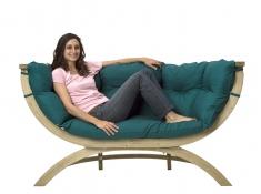 Fotel dwuosobowy drewniany, Siena Due natura - Zielony(Green)