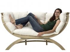 Fotel dwuosobowy drewniany, Siena Due natura - ecru(Natura)