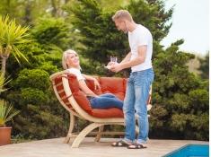Fotel dwuosobowy drewniany, Siena Due terracotta - Czerwony(Terracotta)