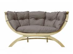 Fotel dwuosobowy drewniany, Siena Due weatherproof - Szary(Taupe)