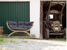 Fotel dwuosobowy drewniany, Siena Due weatherproof - szaro-czarny(Anthracite)