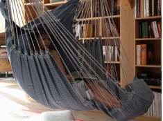 Fotel hamakowy z podstawką, HC-FR - morski(323)