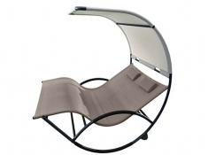 Dwuosobowy fotel bujany, CHAISRKAL - Brązowy(CO)