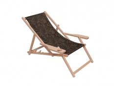 Drewniany leżak z podłokietnikiem i miejscem na kubek, Swing Sunbed Cup Plus - moro(8)