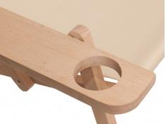 Drewniany leżak z podłokietnikiem i miejscem na kubek, Swing Sunbed Cup Plus - czarny(2)