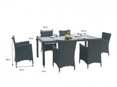Zestaw mebli stołowych CAPITALE, MS.001.003 - ciemny brąz(001)