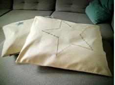 Poduszka hamakowa duża z haftem, HP z haftem - ecru-niebieski(209 nieb)