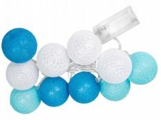 Świecące kule led, Cotton Balls 10 - biało-niebieski(2)