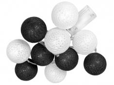 Świecące kule led, Cotton Balls 10 - czarno-biały(3)