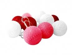 Świecące kule led, Cotton Balls 10 - biało-czerwony(4)