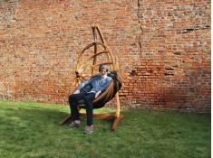 Fotel hamakowy drewniany Gaya(L)-B + stojak Optimist, Zestaw:Gaya (L)-B+Optimist - miodowy beż(2)
