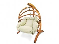 Fotel hamakowy drewniany Gaya(M)-B + stojak Genoa, Zestaw:Gaya (M)-B+Genoa - miodowy beż(2)