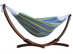 Hamak dwuosobowy + drewniany stojak, C8SPCT - niebiesko-zielony(24)