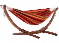 Hamak dwuosobowy Sunbrella + drewniany stojak, C8SPSN - tęczowy(SU)