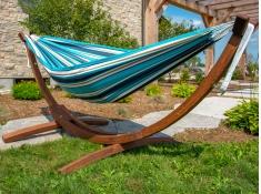 Hamak dwuosobowy Sunbrella + drewniany stojak, C8SPSN - niebieski(T)