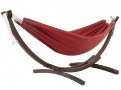 Hamak dwuosobowy Sunbrella + drewniany stojak, C8SPSN - Czerwony(CR)