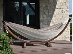 Hamak dwuosobowy Sunbrella + drewniany stojak, C8SPSN - beżowo-szary(DO)