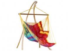 Hängematten-Set: Comfy gesteppter Sessel mit Atlas-Holzständer