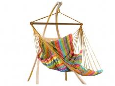 Zestaw hamakowy: fotel pikowany Comfy ze stojakiem drewnianym Atlas
