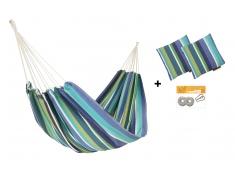 Zestaw hamakowy H w kolorze 288 z poduszkami i zestawem montażowym, H-PZS-288 - niebiesko-biały(288)