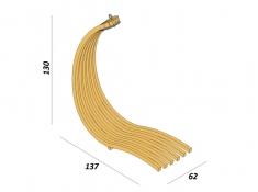 Drewniany leżak wiszący Wave-B + stojak Optimist, Zestaw: Wave-B+ Optimist - miodowy beż(2)
