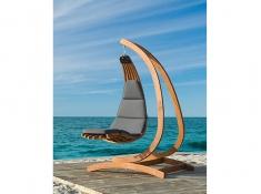 Drewniany leżak wiszący Wave-G + stojak Optimist, Zestaw: Wave-G+ Optimist - grafitowy(3)